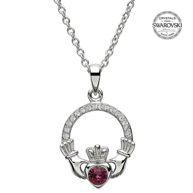 Sterling Silver Claddagh Birthstone February Pendant with Swarovski Crystals - SW101AY - Uctuk