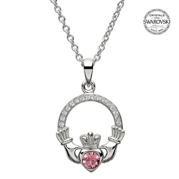 Sterling Silver Claddagh Birthstone October Pendant with Swarovski Crystals - SW101PCZ - Uctuk