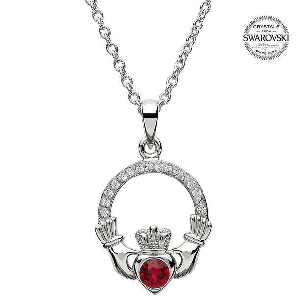 Sterling Silver Claddagh Birthstone July Pendant with Swarovski Crystals - SW101RB - Uctuk