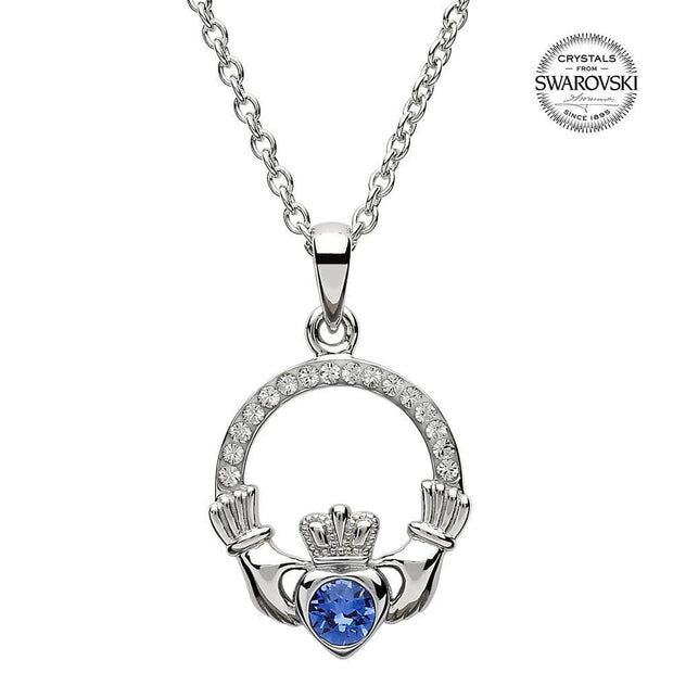 Sterling Silver Claddagh Birthstone September Pendant with Swarovski Crystals - SW101S - Uctuk