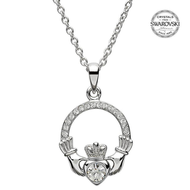 Sterling Silver Claddagh Birthstone April Pendant with Swarovski Crystals - SW101WH - Uctuk