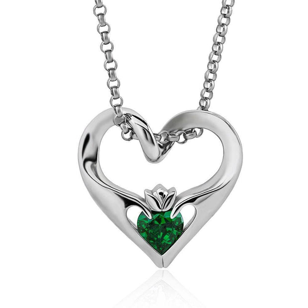 Sterling Silver Green CZ UPS-16435GR w/Chain Ladies Modern Floating Claddagh Pendant - Uctuk
