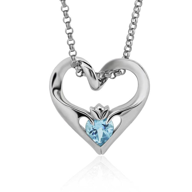 Sterling Silver Sky Blue CZ UPS-16435SB w/Chain Ladies Modern Floating Claddagh Pendant - Uctuk