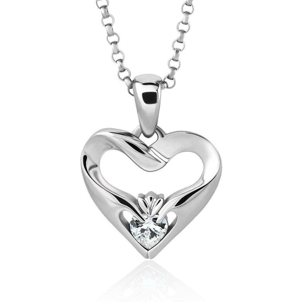 Sterling Silver White CZ UPS-16436CZ w/Chain Ladies Modern Claddagh Pendant - Uctuk