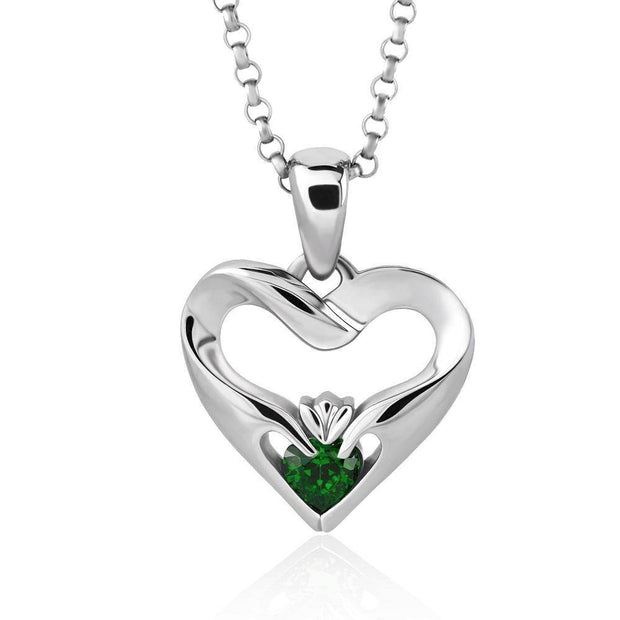 Sterling Silver Green CZ UPS-16436GR w/Chain Ladies Modern Claddagh Pendant - Uctuk