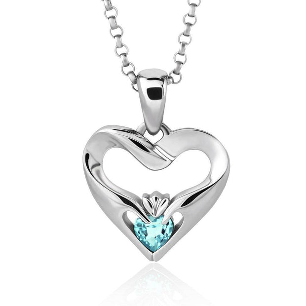 Sterling Silver Sky Blue CZ UPS-16436SB w/Chain Ladies Modern Claddagh Pendant - Uctuk
