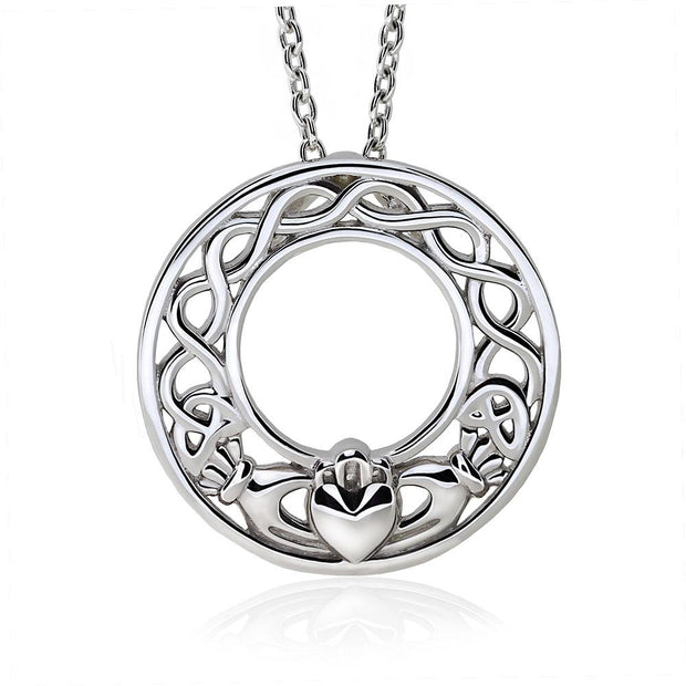 Sterling Silver Claddagh Pendant UPS-6158