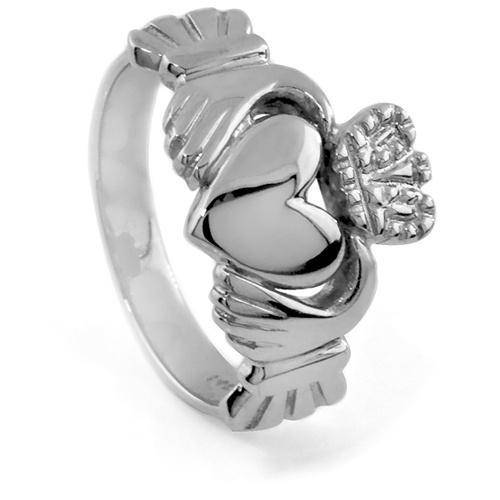 14K White Gold Claddagh Ring 5W - Uctuk