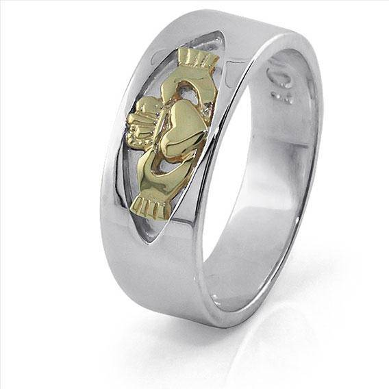 Retired Ladies Sterling Silver Ring with 10K Yellow Solid Gold Claddagh accent LS-RS770-MIX - Uctuk