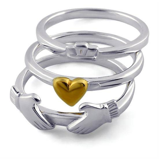Retired Ladies Sterling Silver Ring with 10K Gold Plated Heart Claddagh LS-RS988 - Uctuk