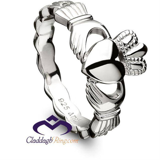 Sterling Silver Claddagh Ring with Celtic Weave - ANU3014 - Uctuk
