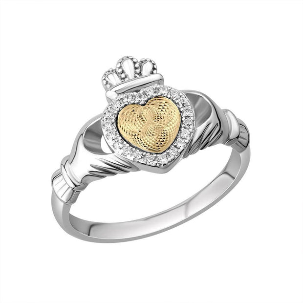 Claddagh Ring S-S21106 Ladies Sterling Silver Moving Gold Heart - Uctuk