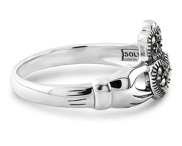 Claddagh Ring S-S2448 Ladies Sterling Silver with Marcasite - Uctuk