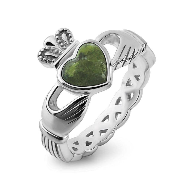 Claddagh Ring S-S2887 Ladies Sterling Silver with Connemara Marble - Uctuk