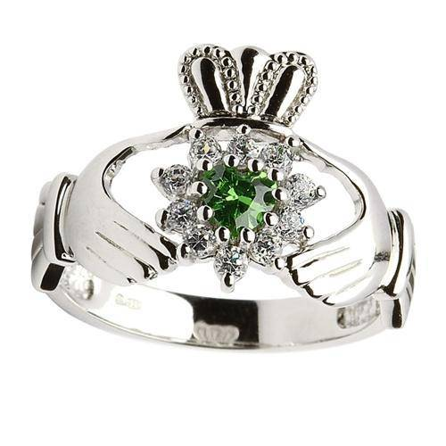 Retired Ladies Silver Cluster Claddagh Ring SL95 - Uctuk