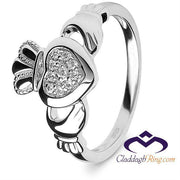 Retired Ladies Silver Pave CZ Claddagh Ring SL-SL97 - Uctuk
