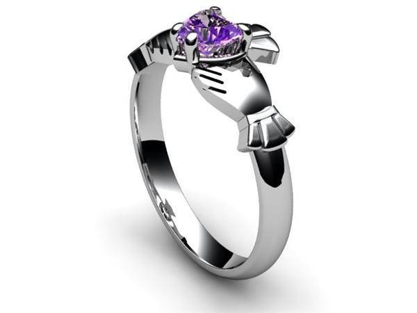 "Amethyst 14K WHITE Gold Claddagh Ring <font color=""#FF0000""> IN STOCK!  Ships in 48 Hours!</font> - Uctuk"