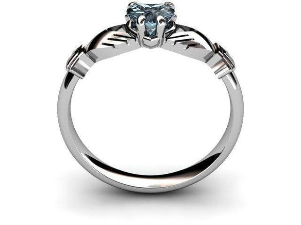 "Aqua Marine White Gold Claddagh Ring <font color=""#FF0000""> IN STOCK!  Ships in 48 Hours!</font> - Uctuk"