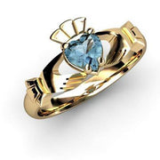 "Aqua Marine Gold Claddagh Ring <font color=""#FF0000""> IN STOCK!  Ships in 48 Hours!</font> - Uctuk"