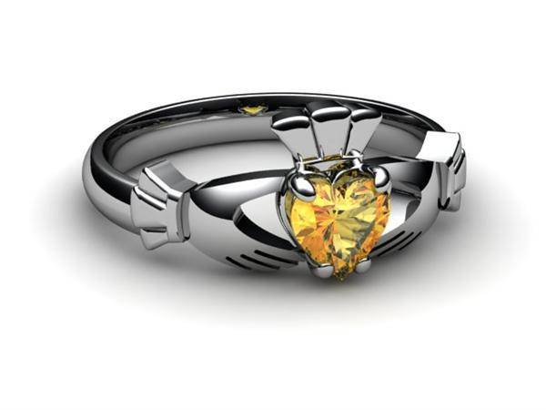 "CITRINE PLATINUM Claddagh Ring <font color=""#FF0000""> IN STOCK!  Ships in 48 Hours!</font> - Uctuk"