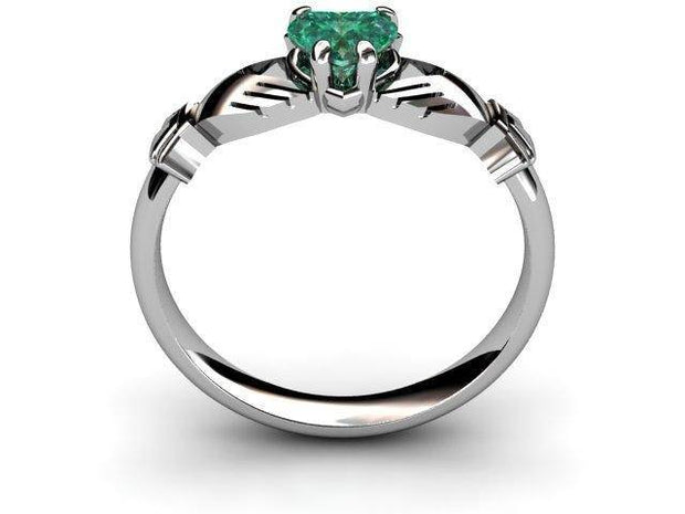 "GREEN QUARTZ 14K White Gold Claddagh Ring <font color=""#FF0000""> IN STOCK!  Ships in 48 Hours!</font> - Uctuk"