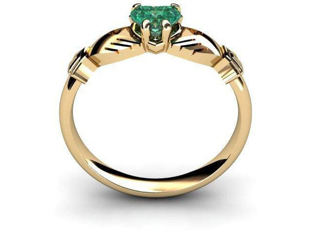 "GREEN QUARTZ 14K Gold Claddagh Ring <font color=""#FF0000""> IN STOCK!  Ships in 48 Hours!</font> - Uctuk"