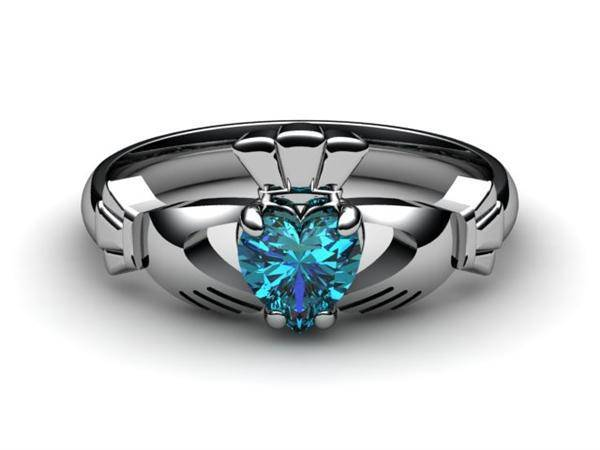 "London Blue Topaz PLATINUM Claddagh Ring <font color=""#FF0000""> IN STOCK!  Ships in 48 Hours!</font> - Uctuk"