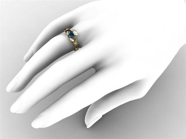 "London Blue Topaz 14K Gold Claddagh Ring <font color=""#FF0000""> IN STOCK!  Ships in 48 Hours!</font> - Uctuk"
