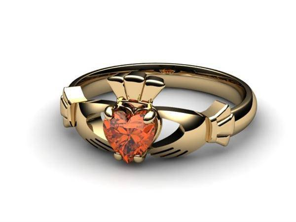 "Garnet Gold Claddagh Ring <font color=""#FF0000""> IN STOCK!  Ships in 48 Hours!</font> - Uctuk"