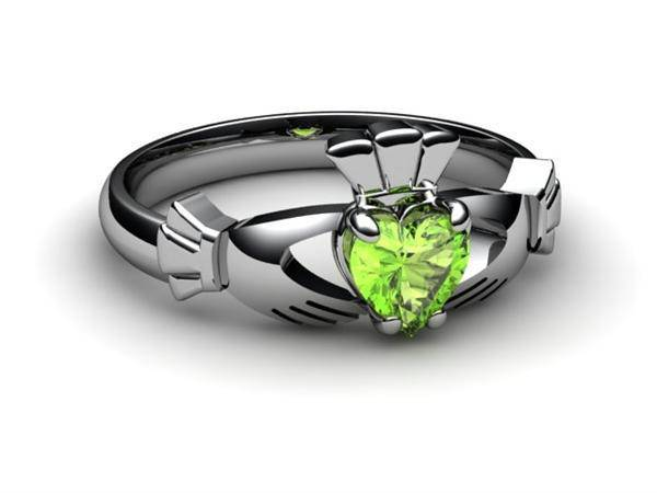 "PERIDOT 14K White Gold Claddagh Ring <font color=""#FF0000""> IN STOCK!  Ships in 48 Hours!</font> - Uctuk"