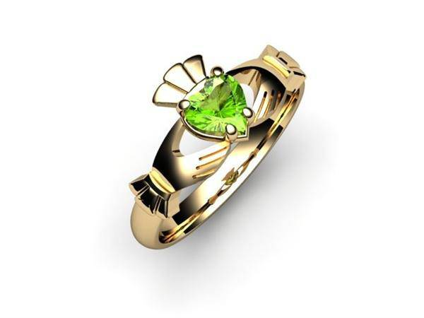 "Peridot 14K Gold Claddagh Ring <font color=""#FF0000""> IN STOCK!  Ships in 48 Hours!</font> - Uctuk"