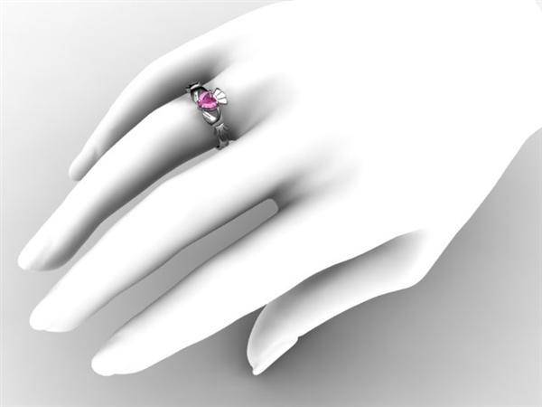 "PINK SAPPHIRE PLATINUM Claddagh Ring <font color=""#FF0000""> IN STOCK!  Ships in 48 Hours!</font> - Uctuk"