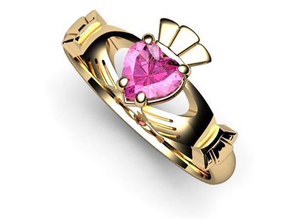 "PINK SAPPHIRE 14K Gold Claddagh Ring <font color=""#FF0000""> IN STOCK!  Ships in 48 Hours!</font> - Uctuk"
