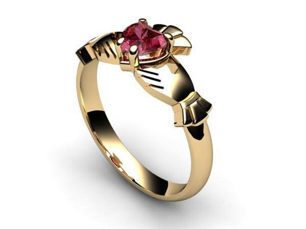 "Rhodolite Garnet Gold Claddagh Ring <font color=""#FF0000""> IN STOCK!  Ships in 48 Hours!</font> - Uctuk"