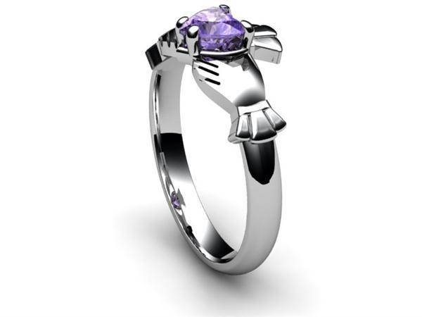"TANZANITE 14K WHITE Gold Claddagh Ring <font color=""#FF0000""> IN STOCK!  Ships in 48 Hours!</font> - Uctuk"