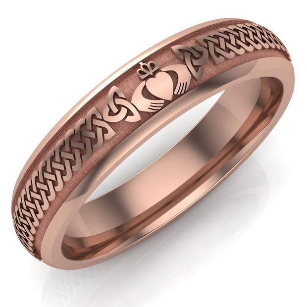 Claddagh Wedding Ring UCL1-14R5M - 10K/14K/18K Rose Gold - Uctuk