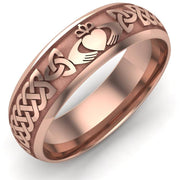 Claddagh Wedding Ring UCL1-14R6LIGHT - 14K Rose Gold LIGHT WEIGHT - Uctuk