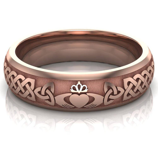 Claddagh Wedding Ring UCL1-14R6M - 14K Rose Gold - Uctuk
