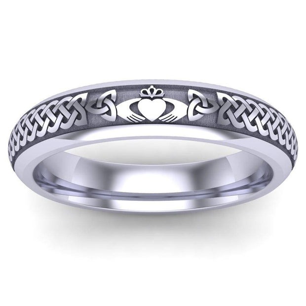 Claddagh Wedding Ring UCL1-14W4M - 14K White Gold - Uctuk