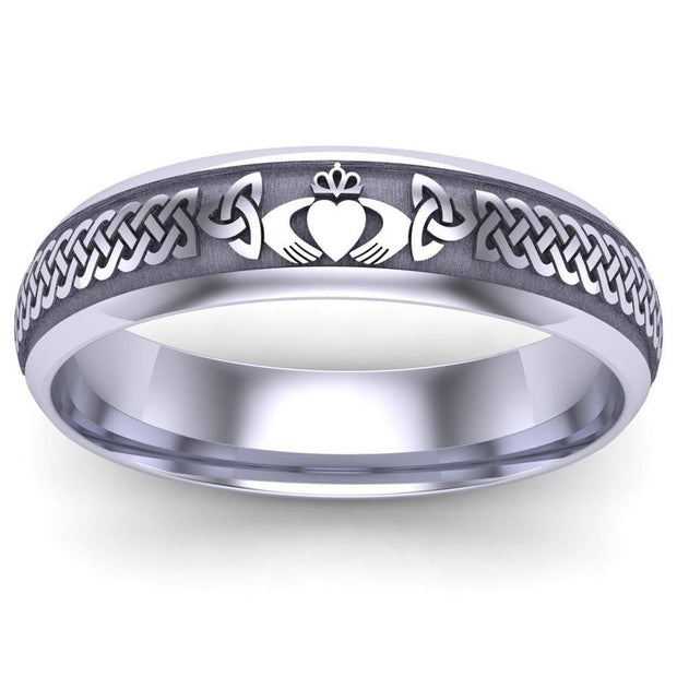Claddagh Wedding Ring UCL1-14W5LIGHT - 14K White Gold LIGHT WEIGHT - Uctuk