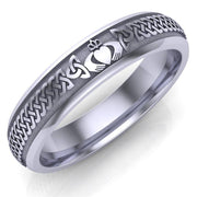 Claddagh Wedding Ring UCL1-14W5M - 10K/14K/18K White Gold - Uctuk