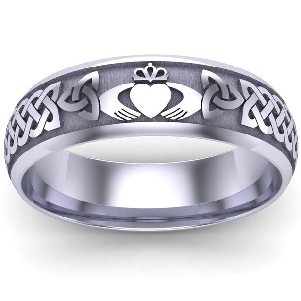 Claddagh Wedding Ring UCL1-14W6LIGHT - 14K White Gold LIGHT WEIGHT - Uctuk
