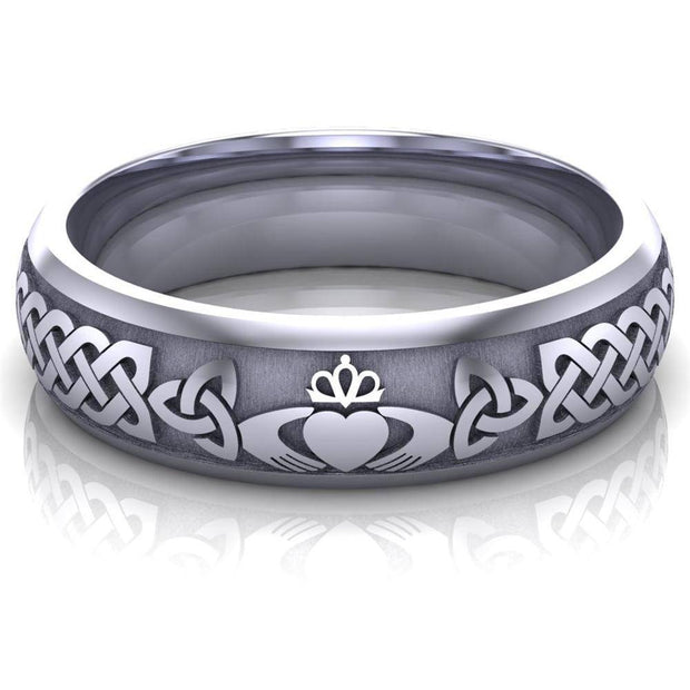 Claddagh Wedding Ring UCL1-14W6M - 14K White Gold - Uctuk