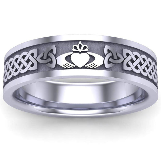 Claddagh Wedding Ring UCL1-14W6MFLAT - 14K White Gold - Uctuk