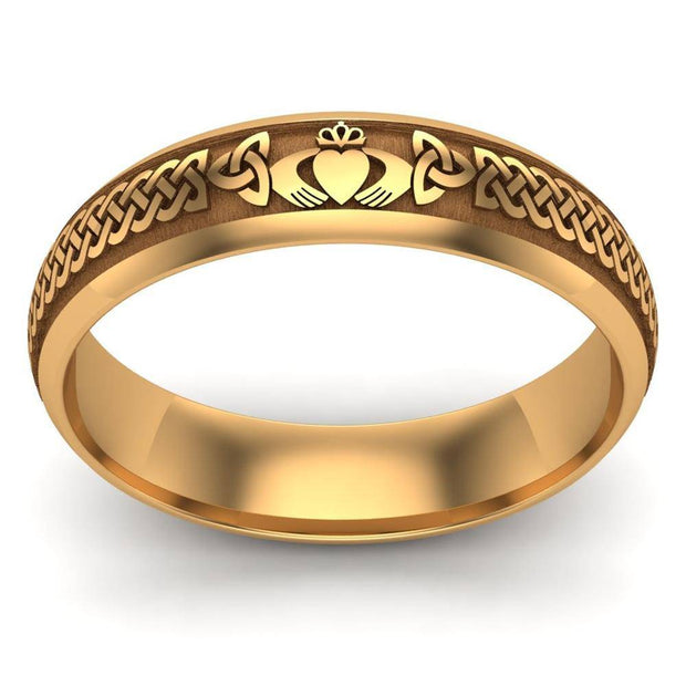 Claddagh Wedding Ring UCL1-14Y5LIGHT - 14K Yellow Gold LIGHT WEIGHT - Uctuk
