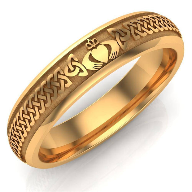 Claddagh Wedding Ring UCL1-14Y5M - 10K/14K/18K Yellow Gold - Uctuk