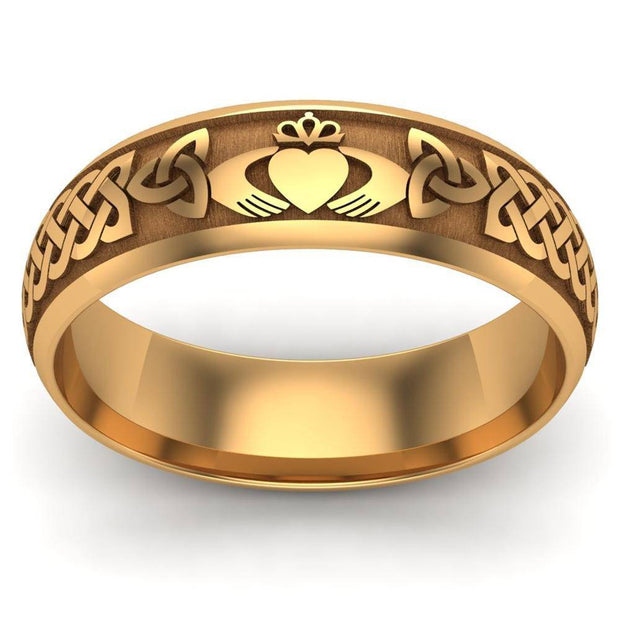 Claddagh Wedding Ring UCL1-14Y6LIGHT - 14K Yellow Gold LIGHT WEIGHT - Uctuk