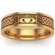 Claddagh Wedding Ring UCL1-14Y6MFLAT - 14K Yellow Gold - Uctuk