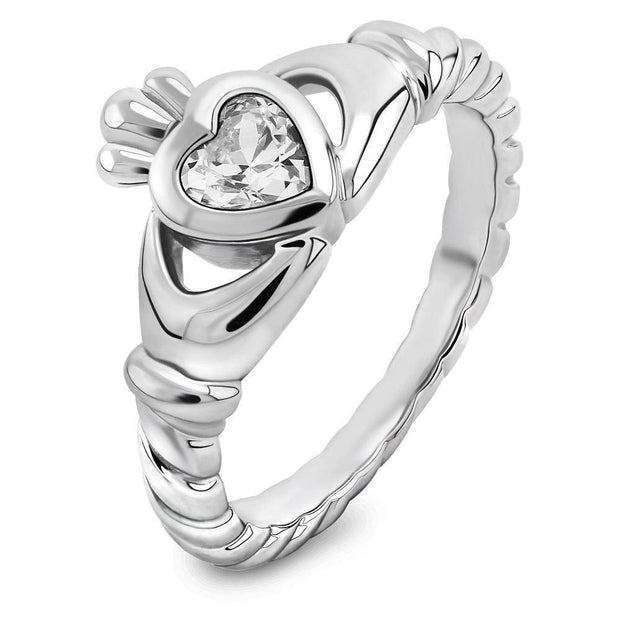 Sterling Silver Twisted Shank White CZ ULS-16424CZ Claddagh Ring - Uctuk