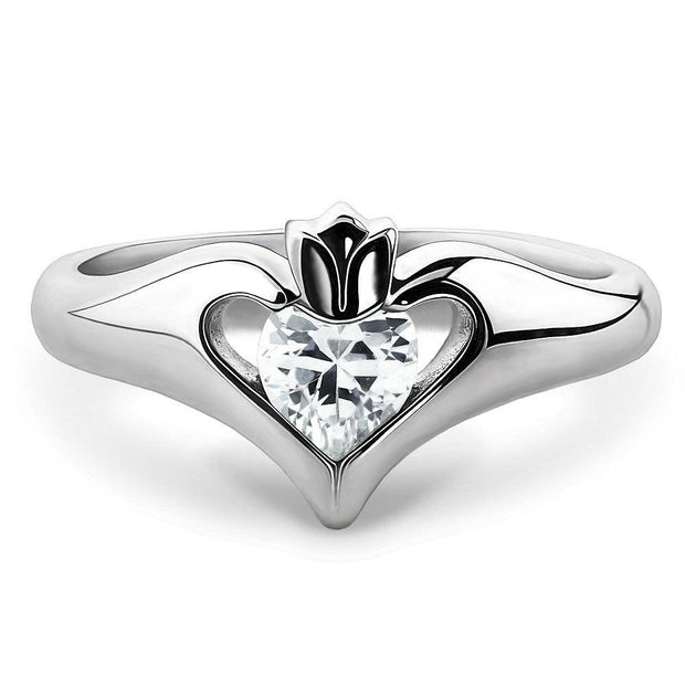 Sterling Silver White CZ ULS-16434CZ Ladies Modern Claddagh Ring - Uctuk